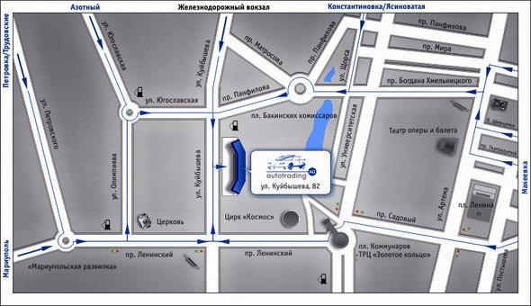 Карта Донецк. Cхема проезда.